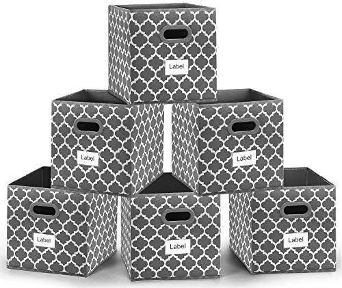 Foldable Cube Storage Bins 12x12 inches, Fabric Storage Bin Baskets Box Organizer with Labels and Dual Plastic Handles for Shelf Closet, Nursery, Set of 6 (Grey)