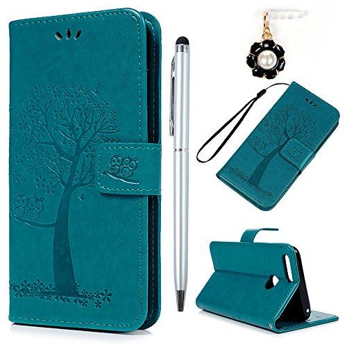 YOKIRIN Huawei Honor 7X Lederhülle Hülle Case für Huawei Honor 7X Flipcase Tasche Handyhülle Etui Eule Baum Muster PU Leder Schutzhülle Schale Kartenfächer Magnetverschluss Handyhalter Blau