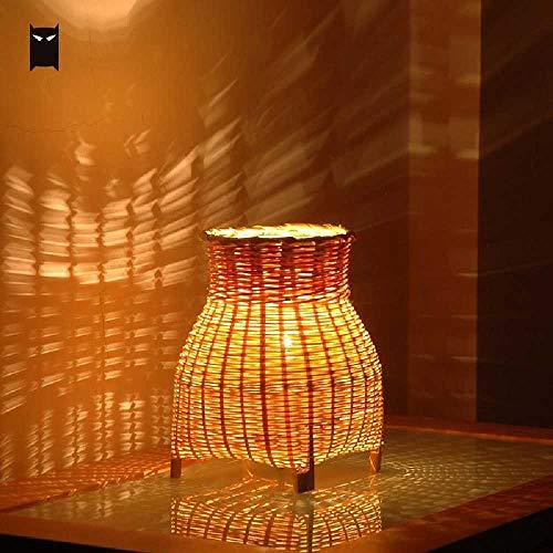 FENGZE Kleine Mini Craft Bambus Wicker Rattan Vase Schatten Tischlampe Leuchte Rustikale Vintage...