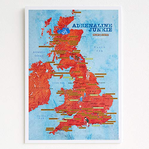 Poster Scratch Off Adrenaline Junkie – UK Map Poster – Snowboarden, Surfen, Wildschwimmen, Fallschirmspringen, Klettern, 30 x 42 cm