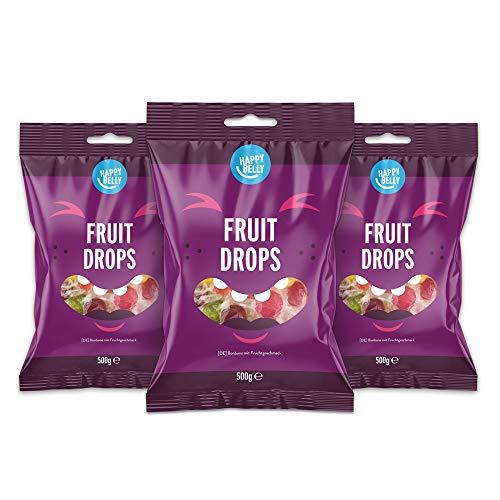 Marchio Amazon - Happy Belly - Caramelle dure alla frutta, 3x500g