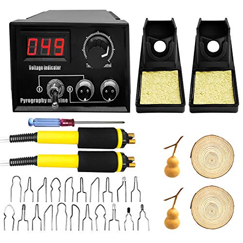 Upgraded Wood Burning Kit, 60W Digital Adjustable Pyrography Machine Professional Pyrography Tool Kit Wood Burner 20pcs Pyrography Wire Tips with Wood Piece (Dual Pen)