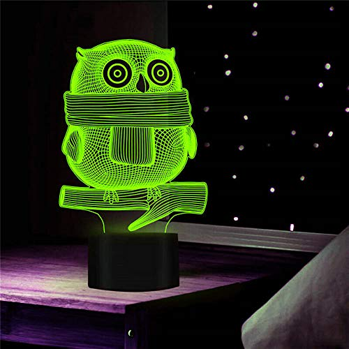 Jinnwell 3D Owl Eagle Night Light Lamp Illusion 7 Color Changing Touch Switch Table Desk Decoration Lamps Gift with Acrylic Flat ABS Base USB Cable Toy (Bus)