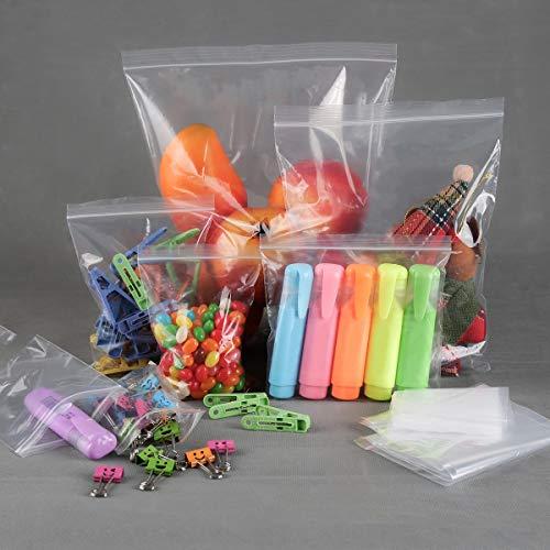 9cube, 100 sacchetti in plastica trasparente, in polietilene, con chiusura a zip, richiudibili, sacchetti sigillati di ottima qualità, Trasparente, 12cm x 18cm
