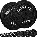 Movit® Hantelscheiben Set PRO, 100% Gusseisen, 30/31 mm Bohrung, Gewichtsscheiben Set Gewichte...