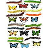 NiGHT LiONS TECH 24 pcs Insects Toy Set for Kids, Emulational Caterpillar and Butterfly Educational Toy Plastic Model Bugs Toy for Boys Girls Christmas Birthday Gift or Themed Party Supplies