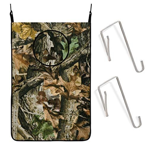 Free Tree Camo Hanging Laundry Hamper Bag With Stainless Steel Hooks Dirty Clothes Bag Hanging Folding Zippered Laundry Basket For Bathroom College, Closet, Behind Doors