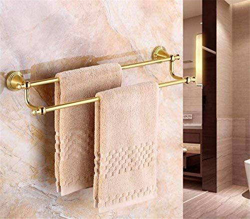 MUZILIZIYU Toallero de Cobre Europeo, Estante de Toalla de Doble Polo de Oro, procesamiento de luz de Pared para baño de Cocina Oficina-C 60 cm Color : A, Size : 70cm(28inch)