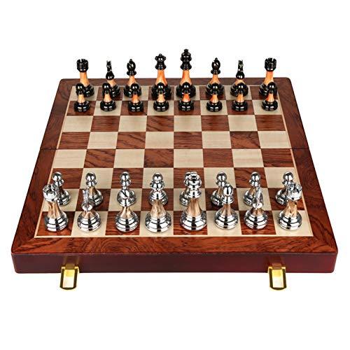 WANGZHI Decoración Retro Europeo Estilo de imitación Jade de Alta Gama de ajedrez sólido Conjunto Plegable Caja de Regalo Caja de ajedrez de ajedrez (Color : Marrón, Size : 45CMX45CM)