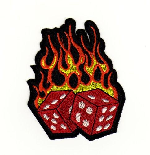 Flammen Rockabilly Würfel Tattoo Aufnäher Bügelbild