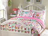 Cozy Line Home Fashions Mariah Pink Polka Dot Colorful Reversible Quilt Bedding Set, Coverlet, Bedspreads (Twin - 2 Piece: 1 Quilt + 1 Standard Sham)