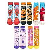 Faletony 5 Paar Halloween Neuheit Socken Kürbisse Elch Party Neuheit Baumwollsocken Verkleiden Dekoration für Damen und Männer