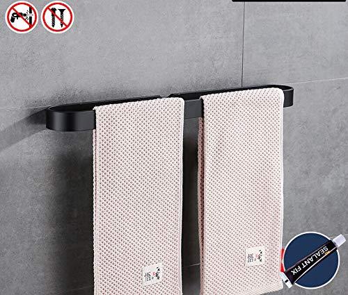 7WUNDERBAR Handtuchstange Handtuchhalter Badetuchstange ohne Bohren 40 cm für Bad,Badezimmer, Küche Einfache Montage(Ohne Handtücher) (Schwarz)