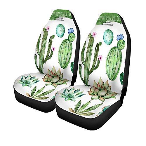 Beth-D set van 2 autostoelhoezen High Watercolor Succulent Plants Cactus And More uw universele autostoelbeschermer 14-17IN
