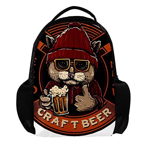 Mochilas Infantiles Gato con Cerveza Mochila Escolar Impermeable Mochila de Viaje Diseño de Impresión Backpack para niños y niñas 27.5x13x40cm