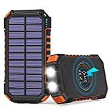 Solar Power Bank 26800mAh, Hiluckey Solar Charger with 4 Outputs Wireless Portable Charger USB C External Battery Pack Quick Charge 3.0A with Dual Flashlights for Smartphones, Tablets and More