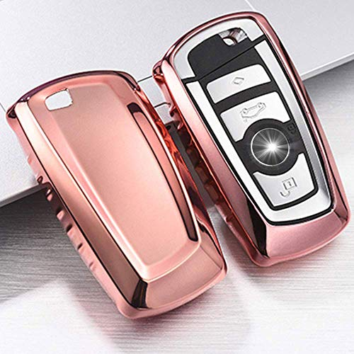 QBUC Key Fob Cover Protective Case, Soft TPU Anti-dust Protection Key Case Shell Keyless Remote Control Smart Car Key Protector for 1 2 3 4 5 6 7 Series and X3 X4 M2 M3 M4 M5 M6(Pink)