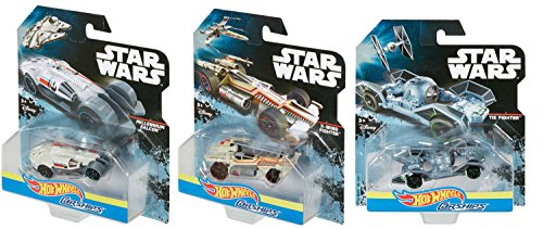 Hot Wheels Star Wars Carships Millennium Falcon Tie Fighter X-Wing Carships Die-Cast 3-Pack Diecast Set