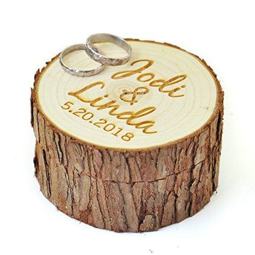 Caja de madera personalizable para anillos de boda con nombre y fecha, portador de anillos de boda, caja rústica personalizada para anillos de boda regalos de boda