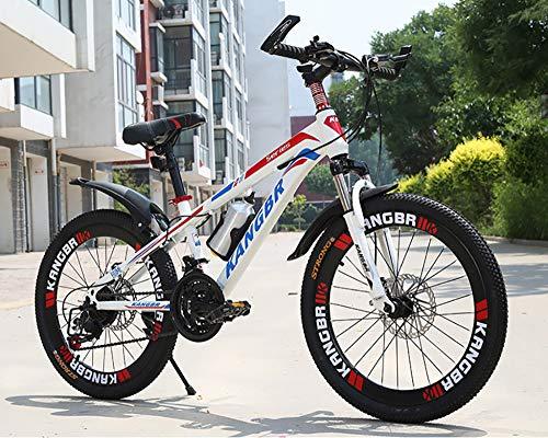 WANG-L Bicicletas De Montaña para Niños De 20/22/24/26 Pulgadas Niños Y Adultos Frenos De Disco Dobles Absorción De Golpes Velocidad Variable MTB,Red-24inch
