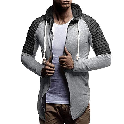 FRAUIT Herren Mantel Männer Langarm Patchwork Zipper Hoodie Pullover Freizeit Schlank Outwear Plus Size Ultra Lightweight Coat Jacke Lightdaune Top Outwear Bluse 100% Baumwolle