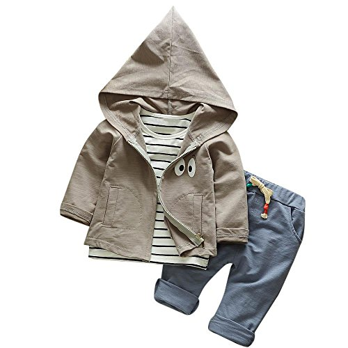 Hirolan 3 Stück Outfits Kleinkind Kind Bekleidungssets Baby Mädchen Jungen Streifen T-Shirt + Kapuzenpullover Mantel + Hosen Kleider Kinderkleidung Babyausstattung (Grau, 80)