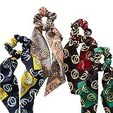 Timagebreze Accessori per Capelli da Donna con Cravatta un Forma di Coda di Cavallo con Nastro Stampato Rotondo Intestino Crasso