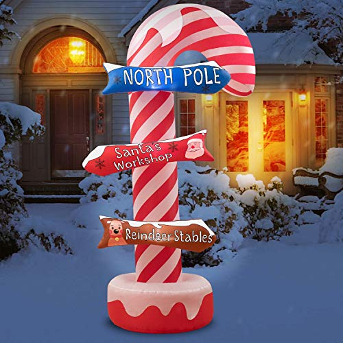 Rocinha Christmas Inflatables Candy Sign 8.2 FT Christmas Blow Ups Candy Cane Decorations with Street Sign- Inflatable Christmas Yard Decorations LED Lights with Stakes for Lawn, Outside Display