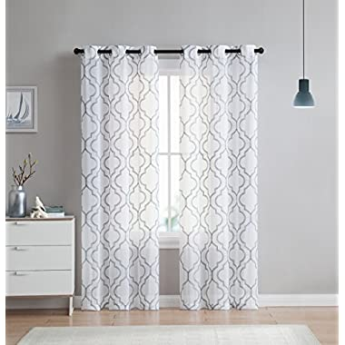 2 Pack: VCNY Home Charlotte Embroidered Quatrefoil Trellis Semi Sheer Curtain Panels - Assorted Colors & Sizes (84 in. Length, Grey)