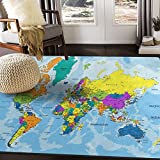 ALAZA Colorful World Map Area Rug Rugs for Living Room Bedroom 7' x 5'