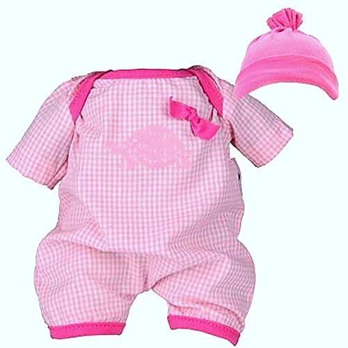 Schildkröt Puppen Kleidung Body Spielanzug rosa kariert mit Mütze Bekleidungsset für 32 cm Puppen 32523