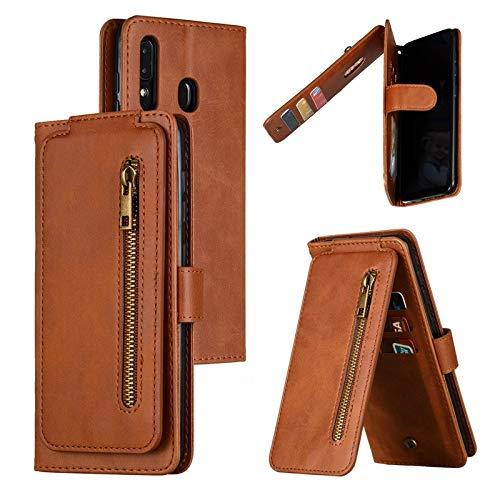 CHENDX Caso para Samsung Galaxy A20 A30, Cartera de Tarjetas múltiples con Bolsillo con Cremallera, Cubierta de la Caja de la Cartera de Cuero PU con la característica de Kickstand (Color : Brown)