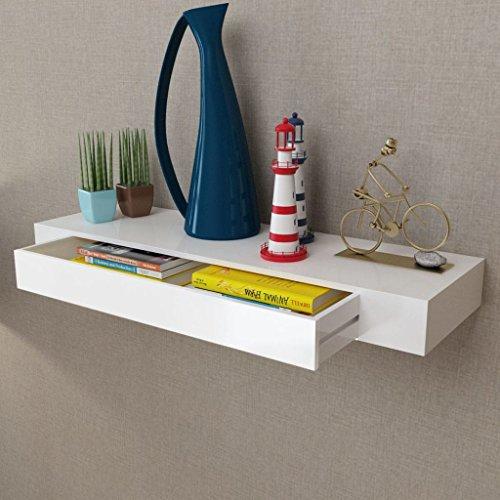 Vislone Estante Flotante Estantería de Pared Librerías de Salón Decoración del Hogar con 1 Cajón MDF Blanco (80x25x8cm)