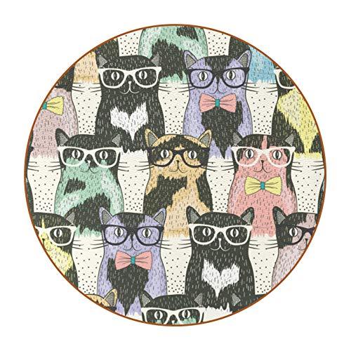 6 posavasos duraderos con diseño de moda y base de piel de microfibra para tazas de vidrio, taza de café, gatos de dibujos animados