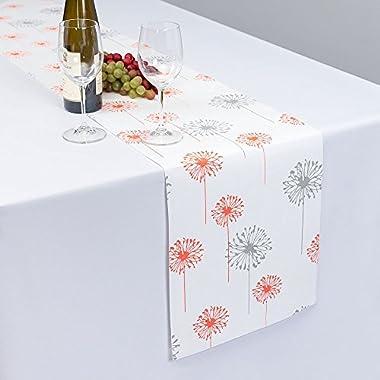 Coral/Tan Dandelion Table Runner