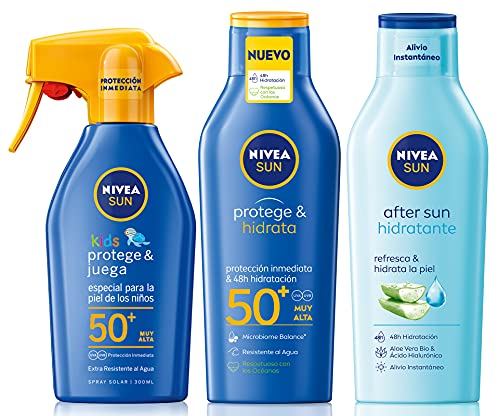 NIVEA SUN Protege & Hidrata Leche Solar FP50+ (1 x 400 ml) + Spray Solar Niños Protege Juega FP50+ + After Sun Loción Hidratante