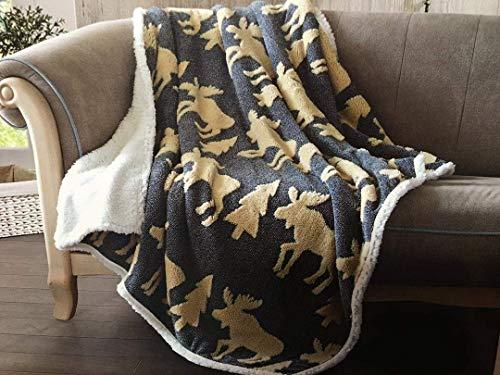 utong RC Virah Bella Navy Moose de Phyllis Dobbs Jacquard Fleece Sherpa Back Throw Blanket