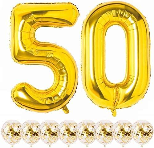 Globos Cumpleaños 50 Años Decoracion Cumpleaños Oro Globo de Confeti 50 Fiesta de Cumpleaños Globos Numeros 50 Gigantes 101cm Helio Globos Decoracion Cumpleaños Decoración