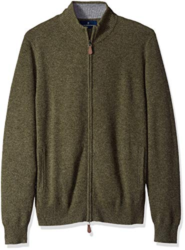 Amazon Brand - BUTTONED DOWN Men's 100% Premium Cashmere Full-Zip Sweater, Olive, Medium