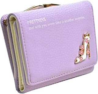 Fashionable Small Leather Wallet for Women Portable Purse Organizer (Color : Purple)