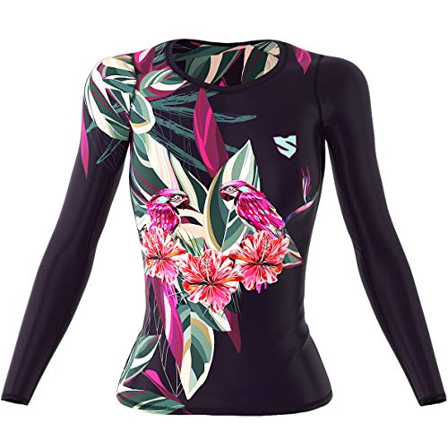 SMMASH Paradiso Womens Long Sleeve Compression Tops, Breathable and Light, Functional Thermal Shirt for Crossfit, Fitness, Yoga, Gym, Running, Sport Long Sleeved, Antibacterial Material… (L)