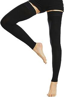 Beister - Mangas de compresión sin pies con banda de silicona para mujeres y hombres, firme, 20-30 mmHg, apoyo graduado para varices, edema, vuelo, Medium, Negro, 1