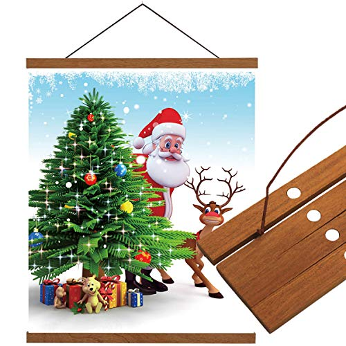 LEO BON Wall Art Canvas Hanging Poster Wood Frame Picture Santa Claus,Christmas Trees and Present. Wall Hanging Teak Wood for Home Dorm Office 20x30inch