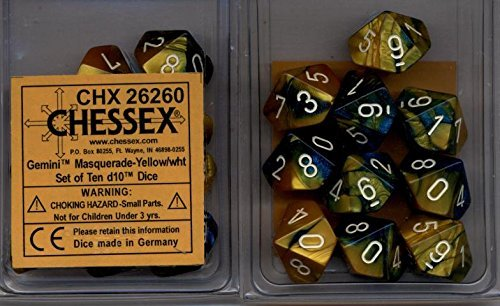 Chessex Dice d10 Sets: Gemini Masquerade / Yellow with White - Ten Sided Die (10) by Chessex
