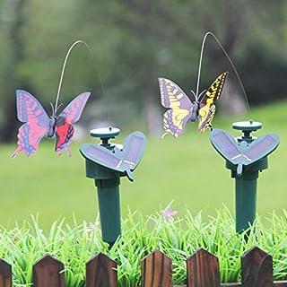 TRRAPLE Solar/Battery Powered Butterfly Bird Flower with Ground Spike, 3 Pack Fluttering Butterflies/Sunflower for Patio G...