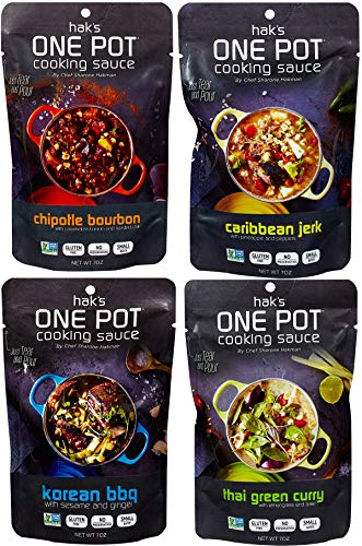 Hak's - One Pot Cooking Sauce - 4-Pack - 7 Oz. - Four All-Natural Flavors - Recipes Created By MasterChef Contestant - Critic Approved - Gluten-Free and Non-GMO - Natural Ingredients- Variety