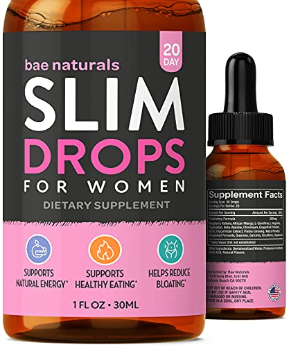 Slim Drops - All Natural Diet Supplement - Increase Energy & Focus - Reduce Bloating, Appetite & Cravings - Raspberry Ketone and African Mango Complex for Women (20 Day)