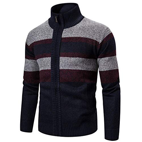 Buy Mens Jacket Men's Autumn Winter Zipper Outwear Tops Solid Stand Collar Sweater Cardigan Coats ...