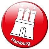 GUMA Kühlschrankmagnet Stadt Hamburg Wappen Geschenk Magnet Fan Städte Souvenir für Magnettafel stark groß Ø 50 mm