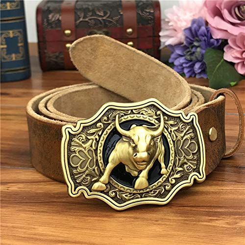 Cinturones De Hombre,Amarillo De Latón De La Moda Cowboy Bull Hebilla Cinturón De Cuero Hombres Jeans Hombres Correa Cintura Genuino Cuero Amarillo De Correas Para Hombres Correa Ancha Macho ,120C